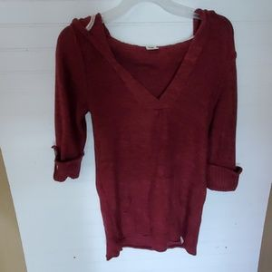 Roxy Size M Burgundy Red Hoodie 3/4 Sleeve Sweater